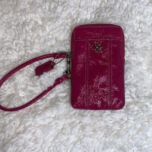 Coach waverly pink patent wallet phone case
